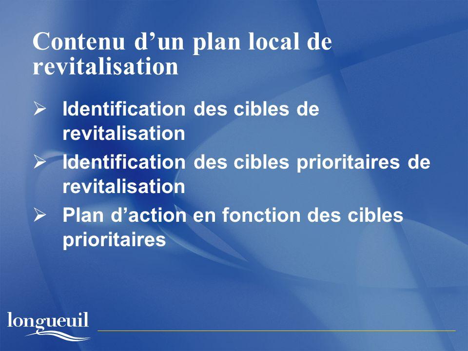 Contenu dun plan local de revitalisation Identification des cibles de revitalisation Identification des cibles prioritaires de revitalisation Plan daction en fonction des cibles prioritaires