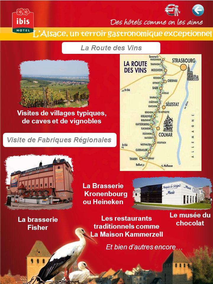 La Route des Vins Visite de Fabriques Régionales La brasserie Fisher Visites de villages typiques, de caves et de vignobles Le musée du chocolat Les r