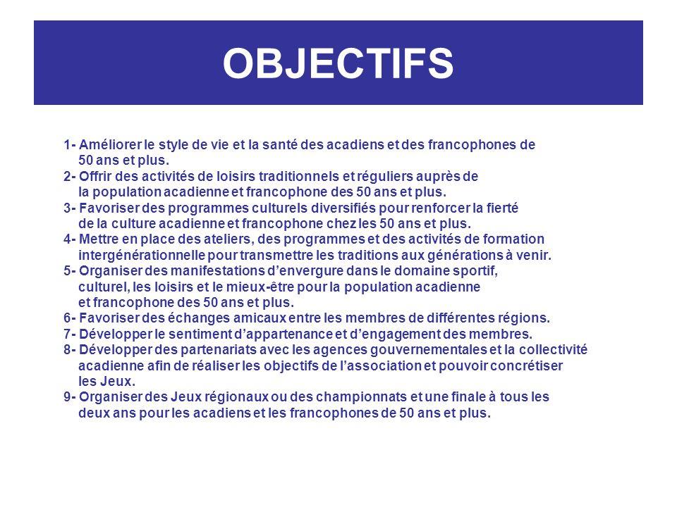 OBJECTIFS 1- Améliorer le style de vie et la santé des acadiens et des francophones de 50 ans et plus.