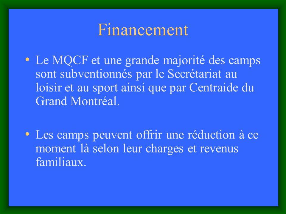 Financement Le MQCF et une grande majorité des camps sont subventionnés par le Secrétariat au loisir et au sport ainsi que par Centraide du Grand Montréal.