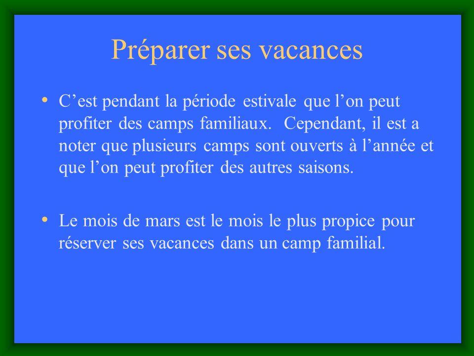 Préparer ses vacances Cest pendant la période estivale que lon peut profiter des camps familiaux.