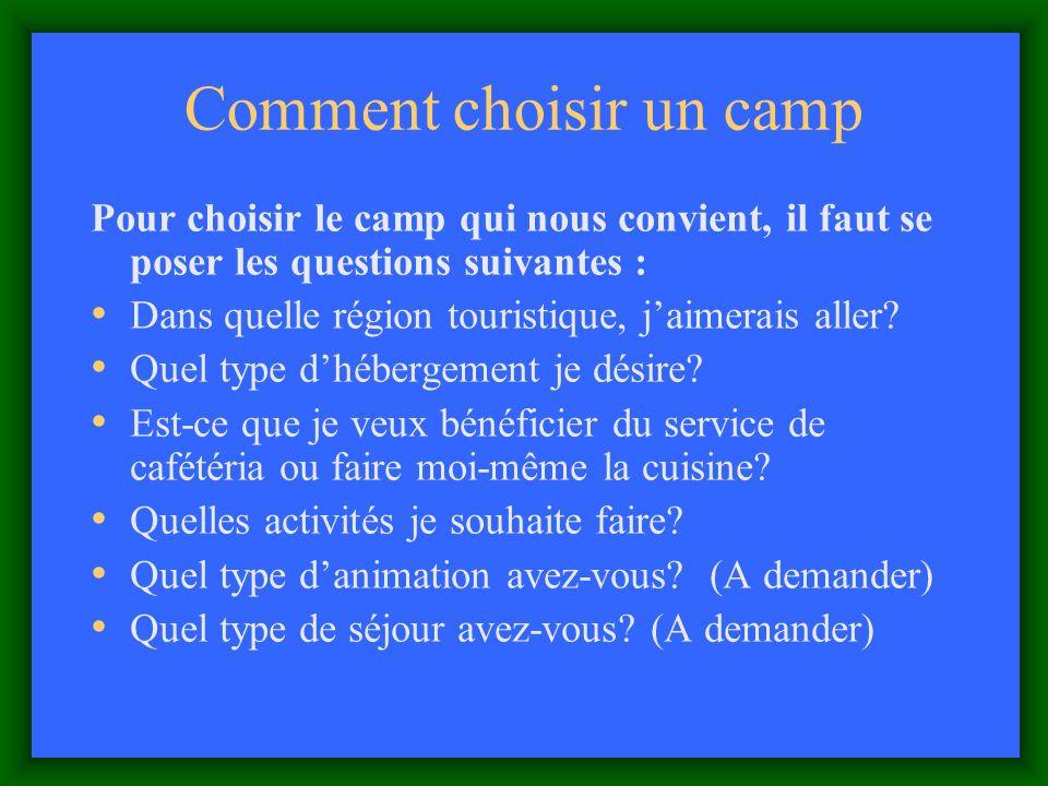 Comment choisir un camp Pour choisir le camp qui nous convient, il faut se poser les questions suivantes : Dans quelle région touristique, jaimerais aller.