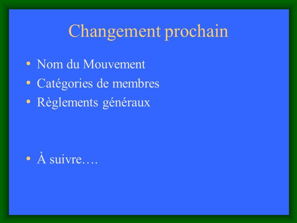 Changement prochain Nom du Mouvement Catégories de membres Règlements généraux À suivre….
