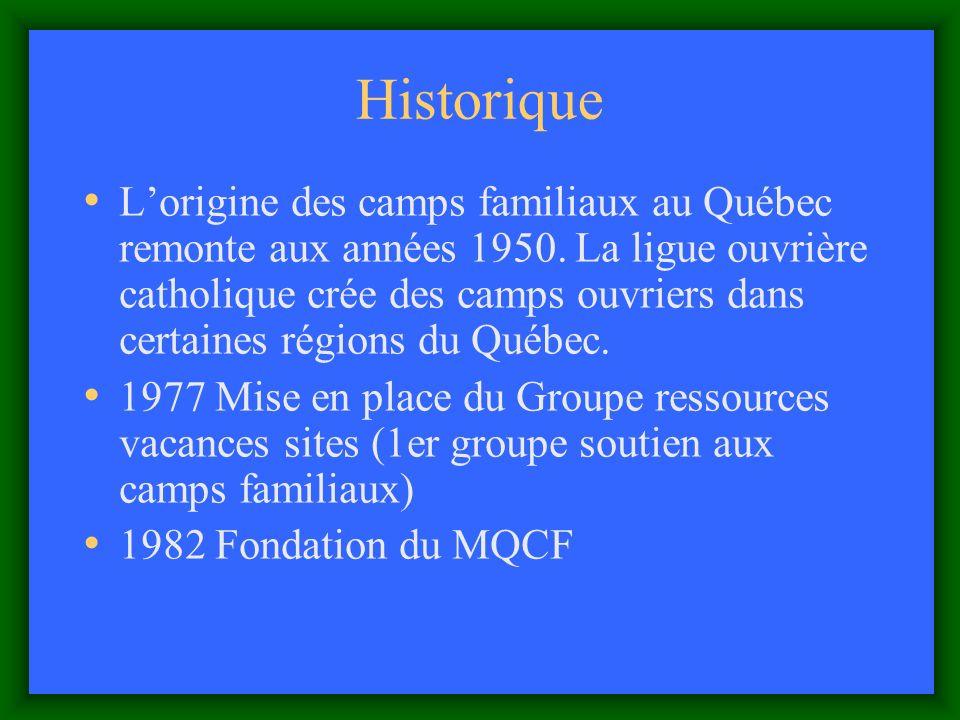 Historique Lorigine des camps familiaux au Québec remonte aux années 1950.