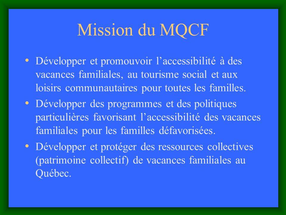 Mission du MQCF Développer et promouvoir laccessibilité à des vacances familiales, au tourisme social et aux loisirs communautaires pour toutes les familles.