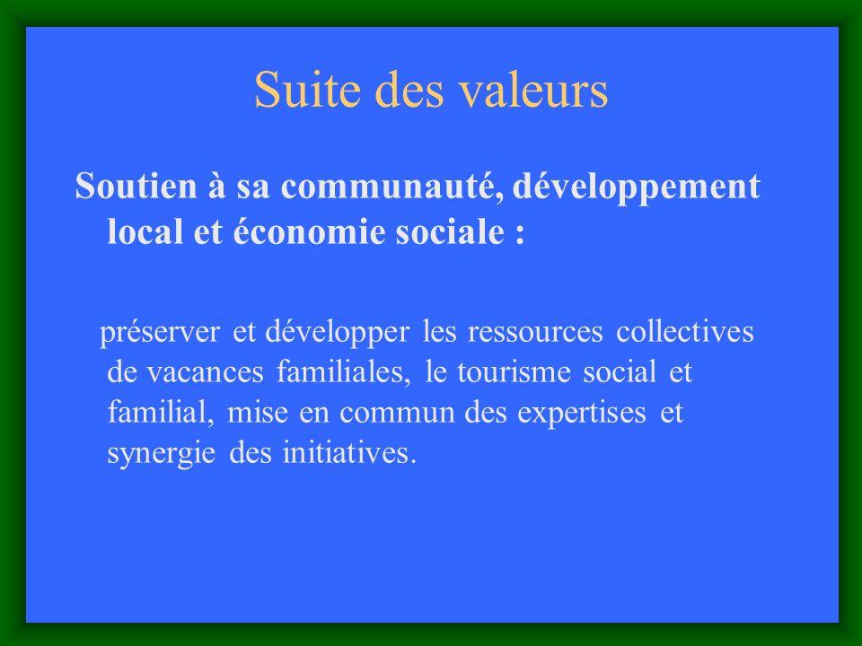 Suite des valeurs Soutien à sa communauté, développement local et économie sociale : préserver et développer les ressources collectives de vacances familiales, le tourisme social et familial, mise en commun des expertises et synergie des initiatives.