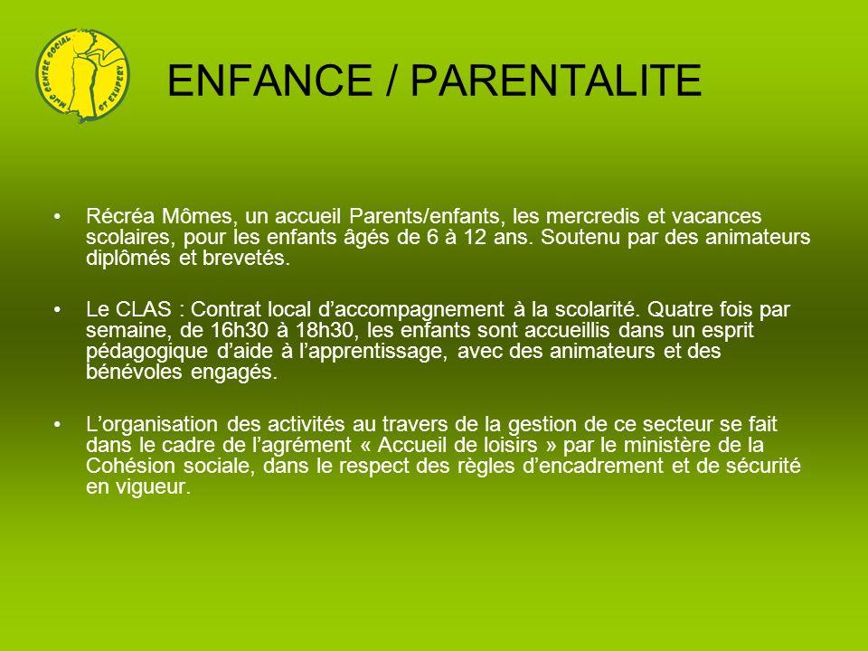ENFANCE / PARENTALITE Récréa Mômes, un accueil Parents/enfants, les mercredis et vacances scolaires, pour les enfants âgés de 6 à 12 ans. Soutenu par