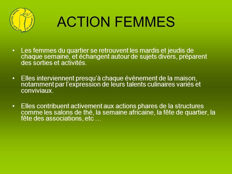ACTION FEMMES Les femmes du quartier se retrouvent les mardis et jeudis de chaque semaine, et échangent autour de sujets divers, préparent des sorties