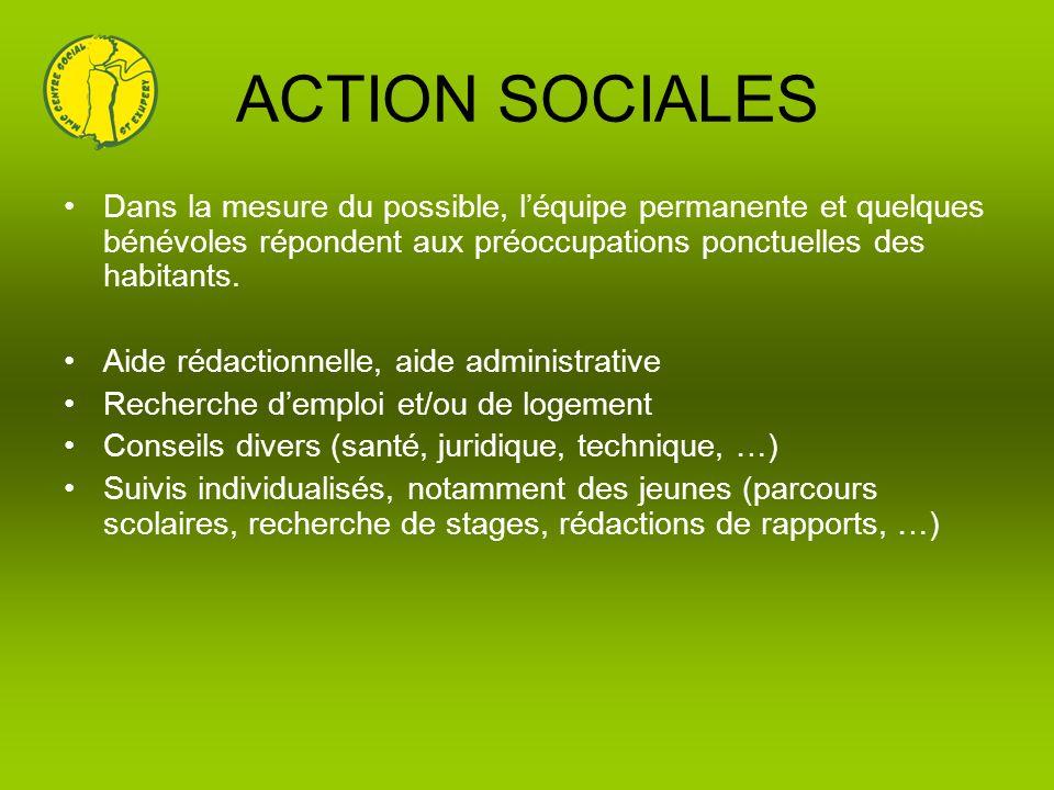 ACTION SOCIALES Dans la mesure du possible, léquipe permanente et quelques bénévoles répondent aux préoccupations ponctuelles des habitants. Aide réda