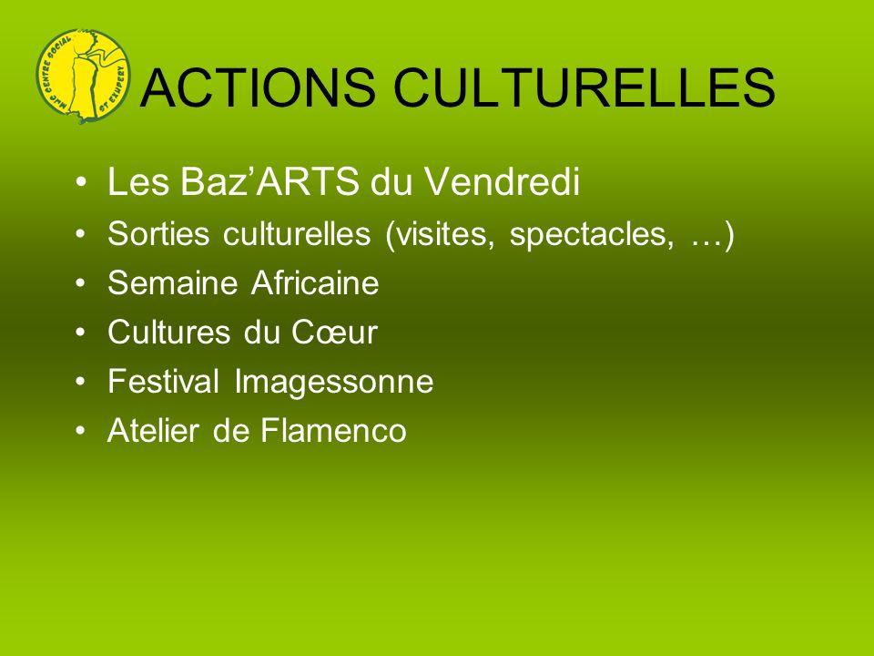 ACTIONS CULTURELLES Les BazARTS du Vendredi Sorties culturelles (visites, spectacles, …) Semaine Africaine Cultures du Cœur Festival Imagessonne Ateli