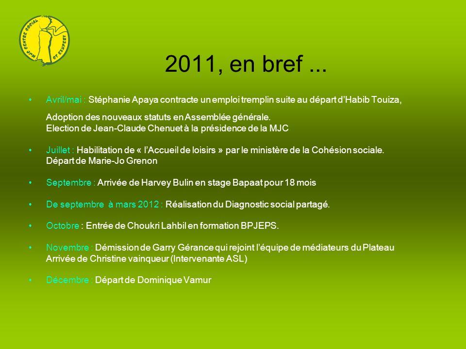 2011, en bref... Avril/mai : Stéphanie Apaya contracte un emploi tremplin suite au départ dHabib Touiza, Adoption des nouveaux statuts en Assemblée gé