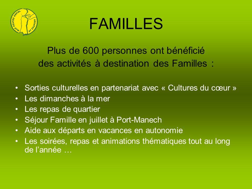 FAMILLES Plus de 600 personnes ont bénéficié des activités à destination des Familles : Sorties culturelles en partenariat avec « Cultures du cœur » L