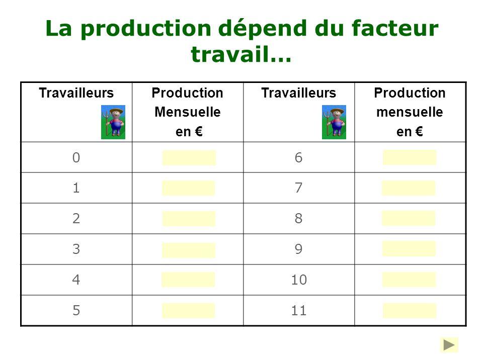 La demande de travail des entreprises Pour produire des céréales, une exploitation agricole dispose des facteurs de production suivants : Un seul tracteur : à court terme, le facteur capital est considéré comme fixe Un nombre variable de travailleurs : à court terme, le facteur travail est considéré comme variable