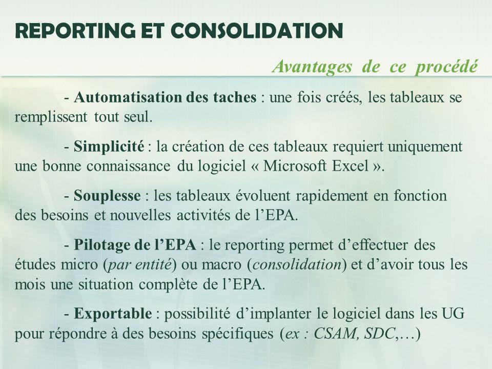 REPORTING ET CONSOLIDATION Avantages de ce procédé - Automatisation des taches : une fois créés, les tableaux se remplissent tout seul.