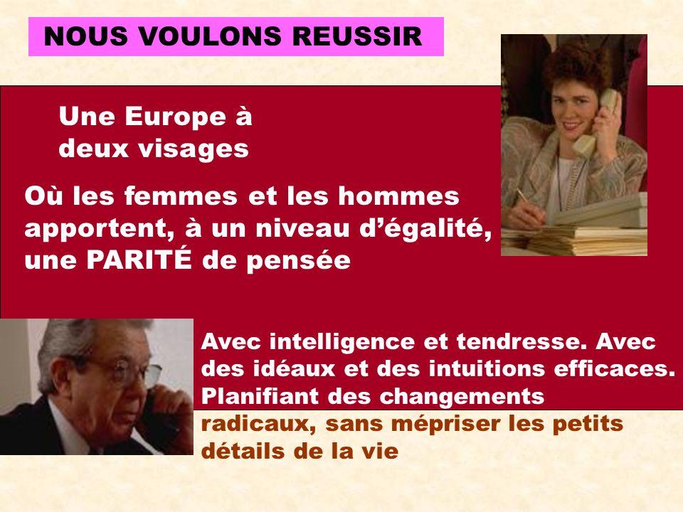 NOUS VOULONS REUSSIR Une Europe à deux visages Où les femmes et les hommes apportent, à un niveau dégalité, une PARITÉ de pensée Avec intelligence et tendresse.