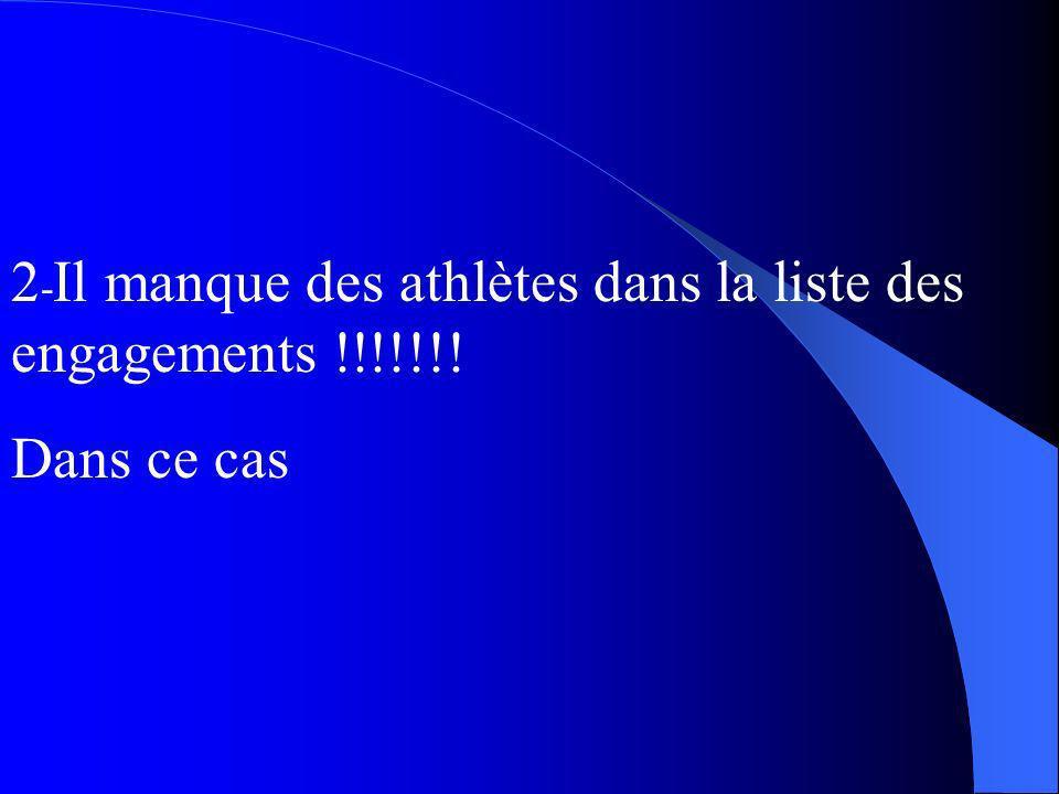2 - Il manque des athlètes dans la liste des engagements !!!!!!! Dans ce cas