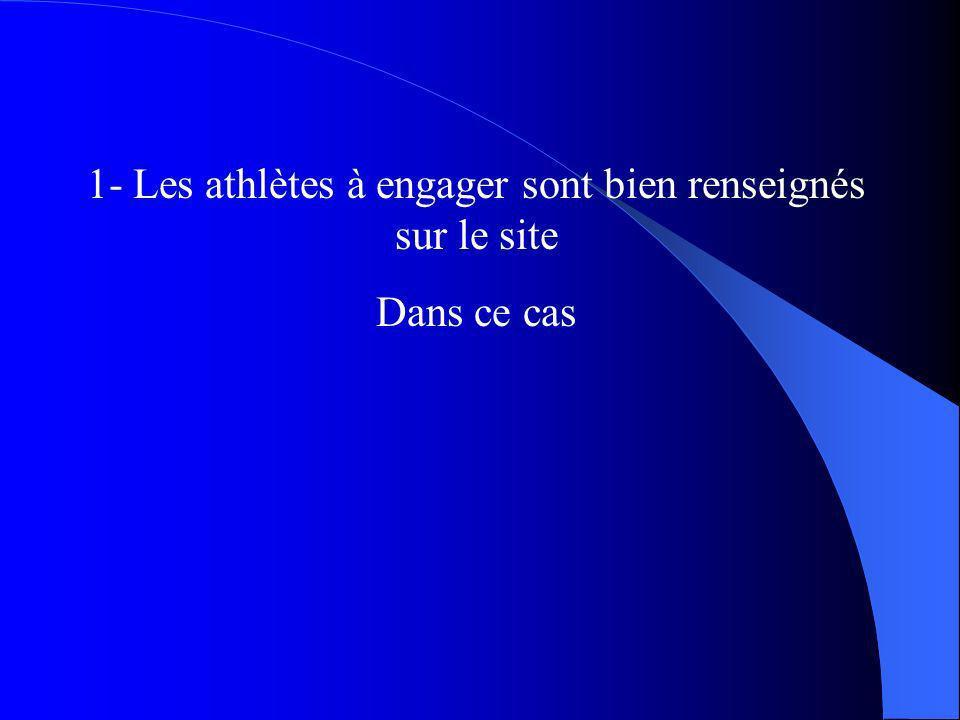 1- Les athlètes à engager sont bien renseignés sur le site Dans ce cas