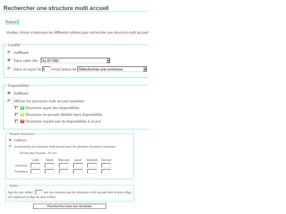 2..Rechercher par critères une structure multi-accueil