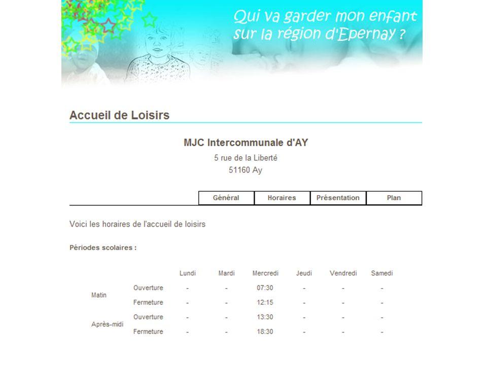 Visualisation dune fiche Accueil de Loisirs (horaires)