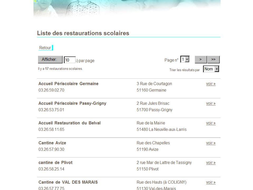 Liste des restaurations scolaires