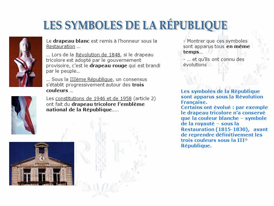 - Montrer que ces symboles sont apparus tous en même temps… Les symboles de la République sont apparus sous la Révolution Française.