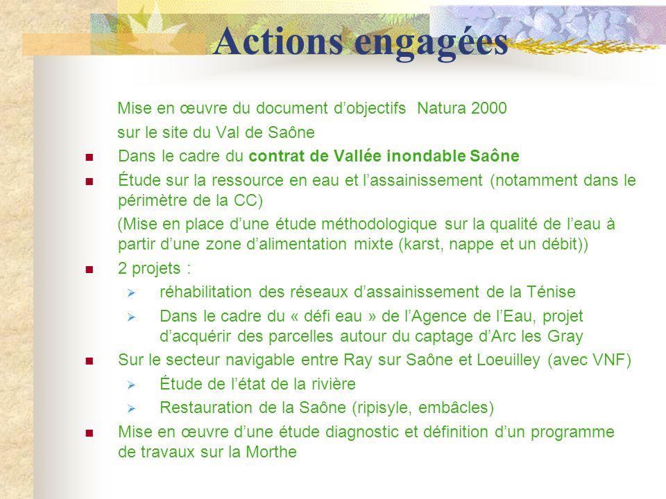 Actions engagées Mise en œuvre du document dobjectifs Natura 2000 sur le site du Val de Saône Dans le cadre du contrat de Vallée inondable Saône Étude sur la ressource en eau et lassainissement (notamment dans le périmètre de la CC) (Mise en place dune étude méthodologique sur la qualité de leau à partir dune zone dalimentation mixte (karst, nappe et un débit)) 2 projets : réhabilitation des réseaux dassainissement de la Ténise Dans le cadre du « défi eau » de lAgence de lEau, projet dacquérir des parcelles autour du captage dArc les Gray Sur le secteur navigable entre Ray sur Saône et Loeuilley (avec VNF) Étude de létat de la rivière Restauration de la Saône (ripisyle, embâcles) Mise en œuvre dune étude diagnostic et définition dun programme de travaux sur la Morthe