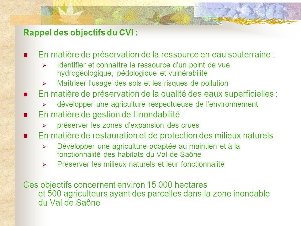 Rappel des objectifs du CVI : En matière de préservation de la ressource en eau souterraine : Identifier et connaître la ressource dun point de vue hydrogéologique, pédologique et vulnérabilité Maîtriser lusage des sols et les risques de pollution En matière de préservation de la qualité des eaux superficielles : développer une agriculture respectueuse de lenvironnement En matière de gestion de linondabilité : préserver les zones dexpansion des crues En matière de restauration et de protection des milieux naturels Développer une agriculture adaptée au maintien et à la fonctionnalité des habitats du Val de Saône Préserver les milieux naturels et leur fonctionnalité Ces objectifs concernent environ 15 000 hectares et 500 agriculteurs ayant des parcelles dans la zone inondable du Val de Saône