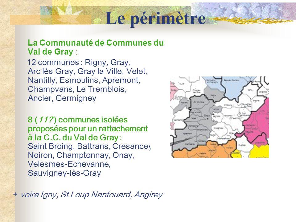 Le périmètre La Communauté de Communes du Val de Gray : 12 communes : Rigny, Gray, Arc l è s Gray, Gray la Ville, Velet, Nantilly, Esmoulins, Apremont, Champvans, Le Tremblois, Ancier, Germigney 8 (11.