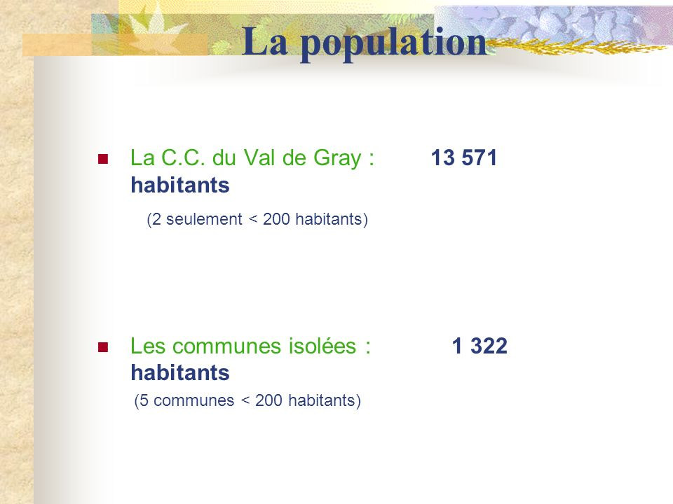 La population La C.C. du Val de Gray : 13 571 habitants (2 seulement < 200 habitants) Les communes isolées : 1 322 habitants (5 communes < 200 habitan