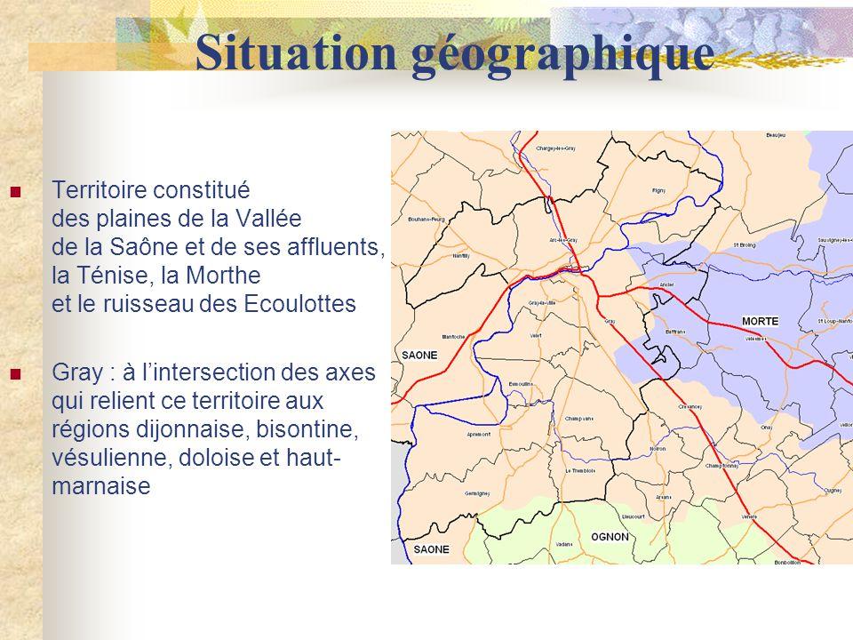 Situation géographique Territoire constitué des plaines de la Vallée de la Saône et de ses affluents, la Ténise, la Morthe et le ruisseau des Ecoulottes Gray : à lintersection des axes qui relient ce territoire aux régions dijonnaise, bisontine, vésulienne, doloise et haut- marnaise