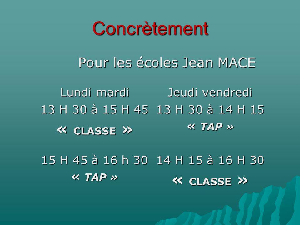 Concrètement Pour les écoles Jean MACE Lundi mardi Jeudi vendredi 13 H 30 à 15 H 45 « CLASSE » 13 H 30 à 14 H 15 « TAP » 15 H 45 à 16 h 30 « TAP » 14 H 15 à 16 H 30 « CLASSE »