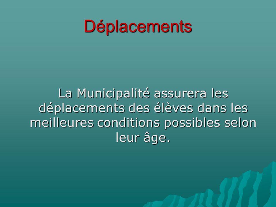 Déplacements La Municipalité assurera les déplacements des élèves dans les meilleures conditions possibles selon leur âge.