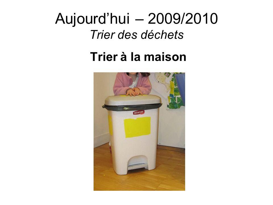 Aujourdhui – 2009/2010 Trier des déchets Trier à la maison