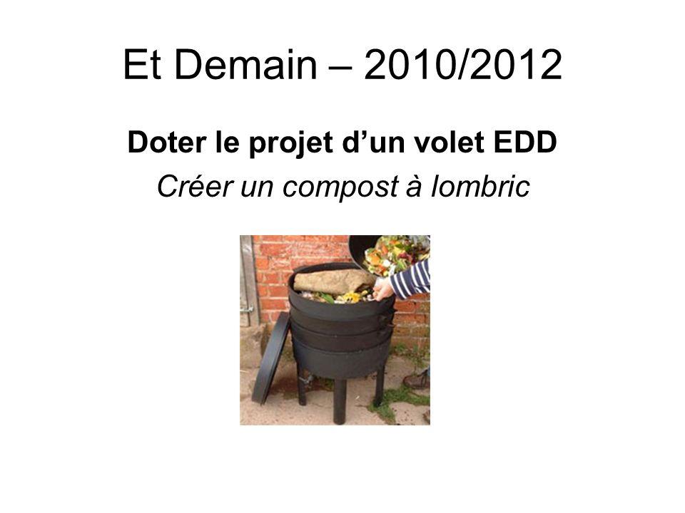 Et Demain – 2010/2012 Doter le projet dun volet EDD Créer un compost à lombric