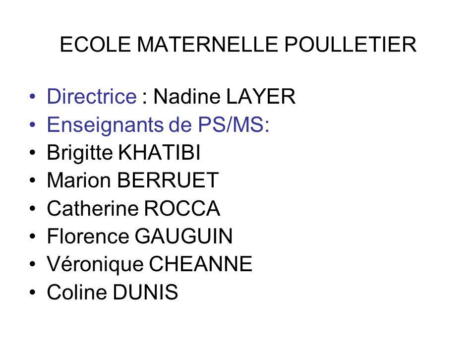ECOLE MATERNELLE POULLETIER Directrice : Nadine LAYER Enseignants de PS/MS: Brigitte KHATIBI Marion BERRUET Catherine ROCCA Florence GAUGUIN Véronique