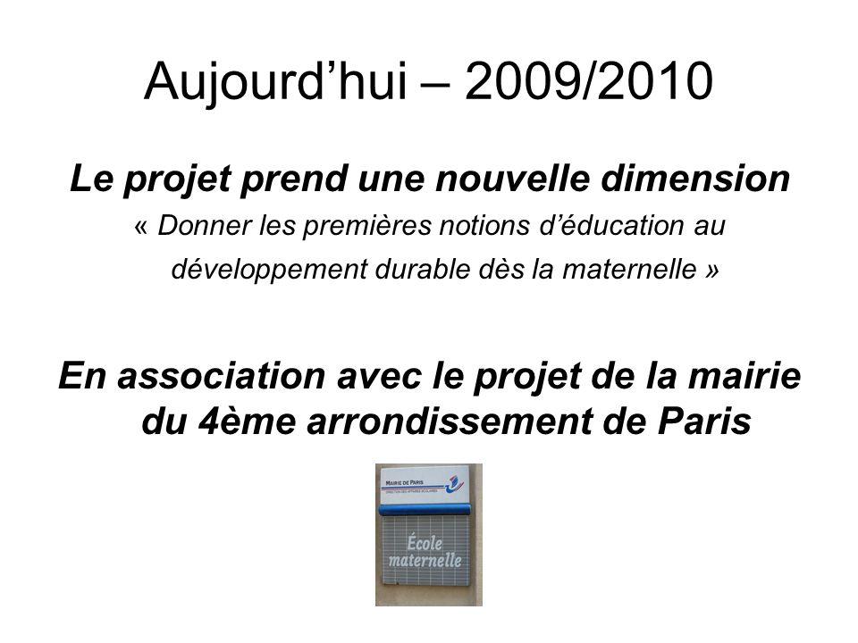Aujourdhui – 2009/2010 Le projet prend une nouvelle dimension « Donner les premières notions déducation au développement durable dès la maternelle » E