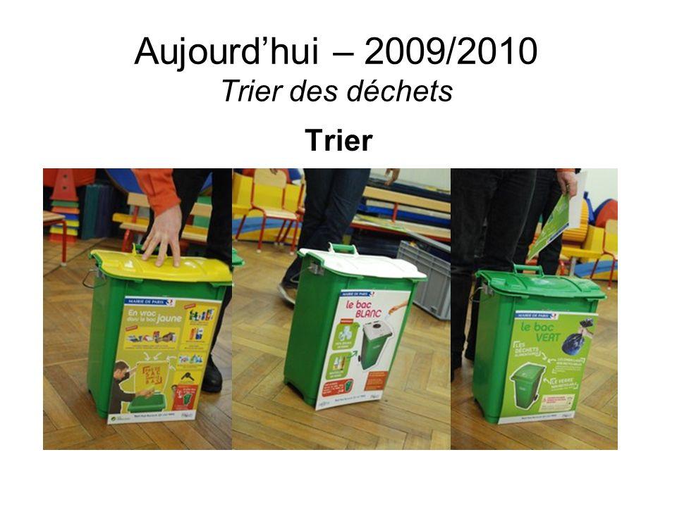 Aujourdhui – 2009/2010 Trier des déchets Trier