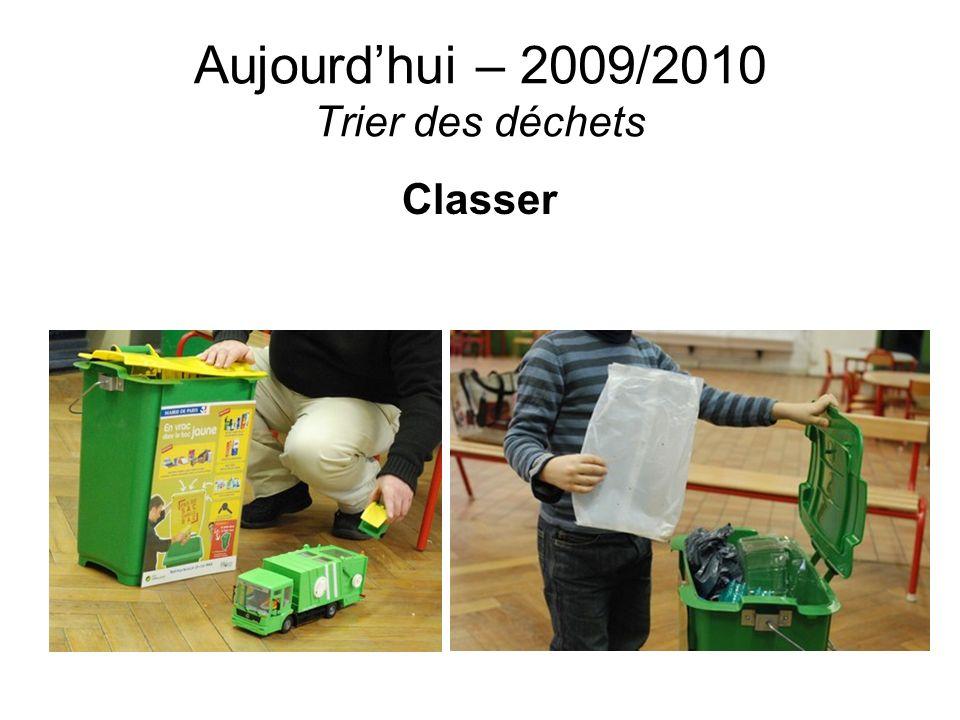Aujourdhui – 2009/2010 Trier des déchets Classer