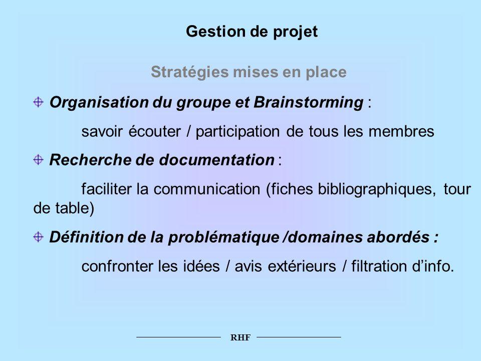 RHF Gestion de projet Stratégies mises en place Organisation du groupe et Brainstorming : savoir écouter / participation de tous les membres Recherche
