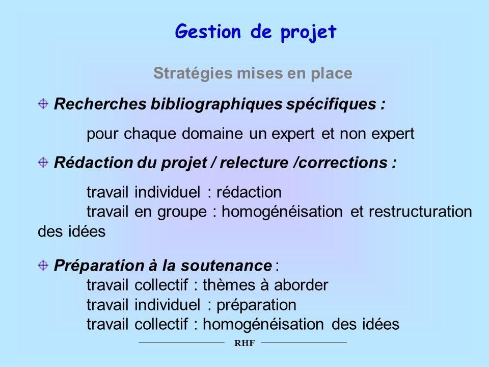 RHF Recherches bibliographiques spécifiques : pour chaque domaine un expert et non expert Rédaction du projet / relecture /corrections : travail indiv