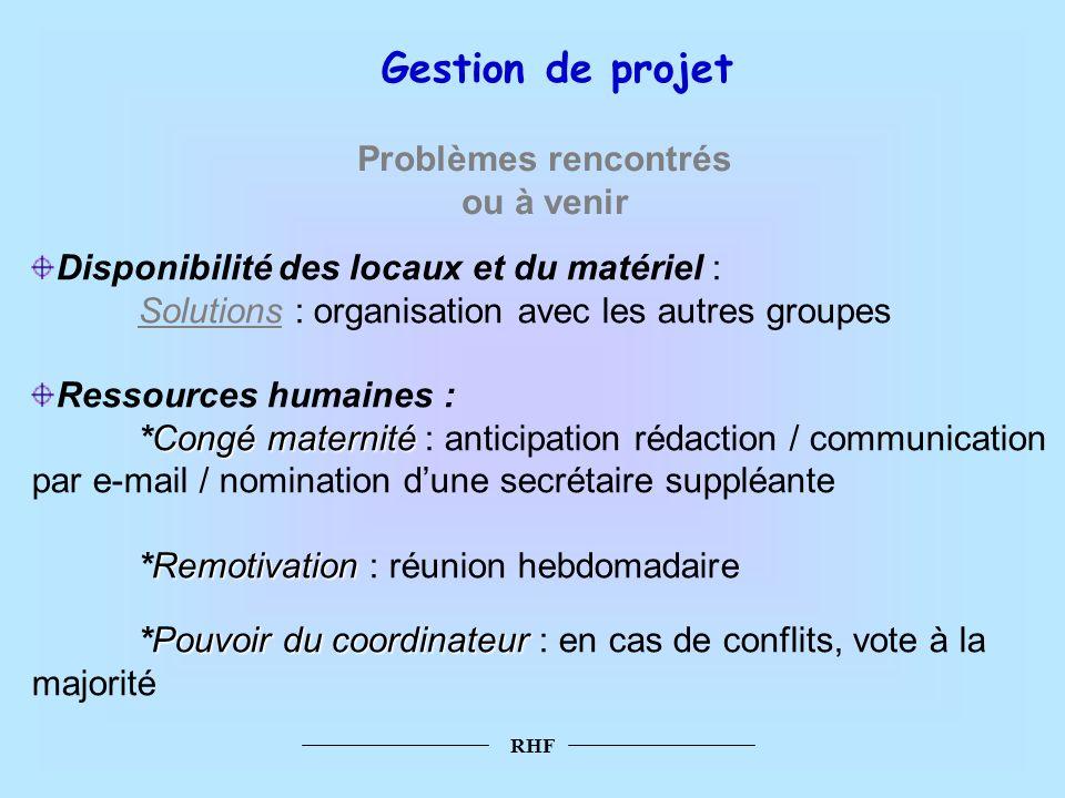 RHF Disponibilité des locaux et du matériel : Solutions : organisation avec les autres groupes Ressources humaines : Congé maternité *Congé maternité