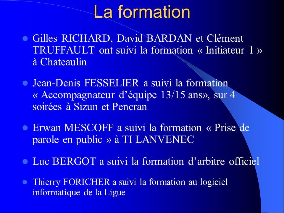 La formation Gilles RICHARD, David BARDAN et Clément TRUFFAULT ont suivi la formation « Initiateur 1 » à Chateaulin Jean-Denis FESSELIER a suivi la fo