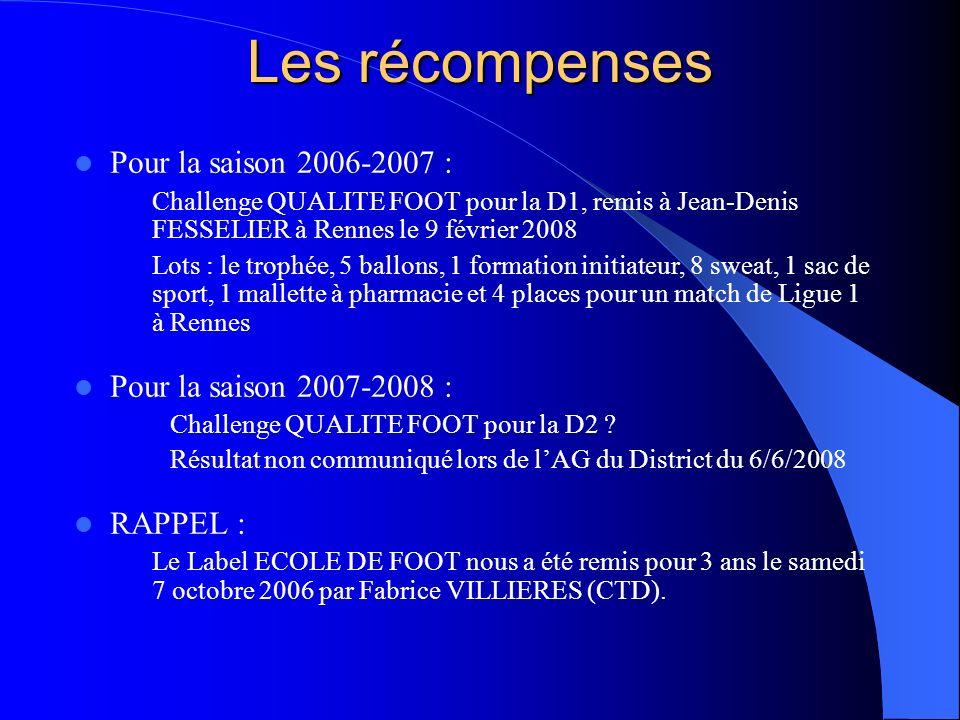 Les récompenses Pour la saison 2006-2007 : Challenge QUALITE FOOT pour la D1, remis à Jean-Denis FESSELIER à Rennes le 9 février 2008 Lots : le trophé