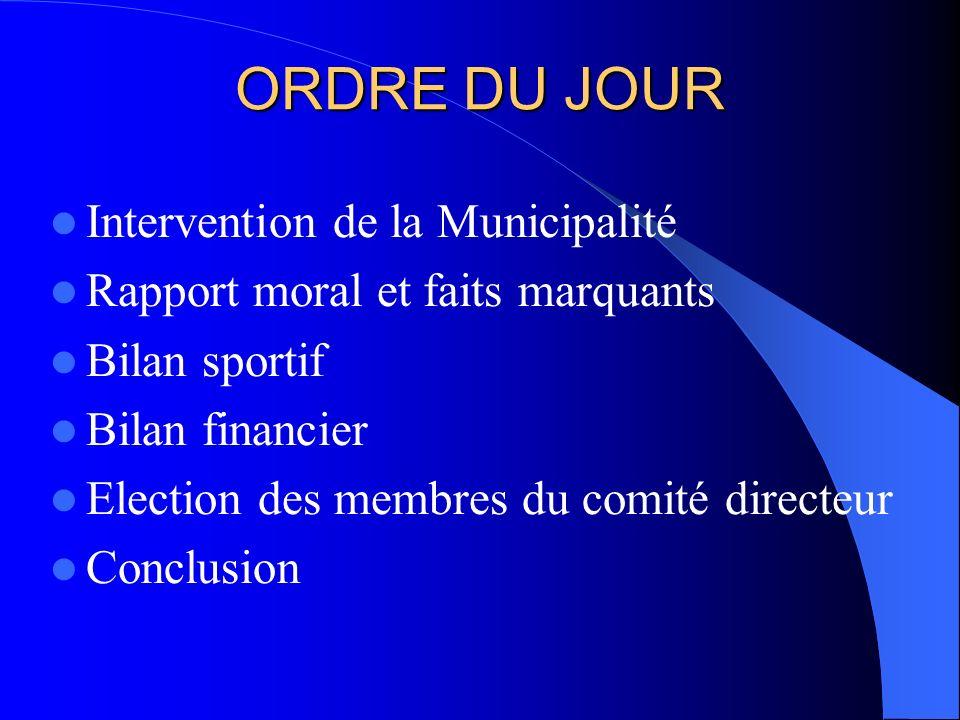 ORDRE DU JOUR Intervention de la Municipalité Rapport moral et faits marquants Bilan sportif Bilan financier Election des membres du comité directeur