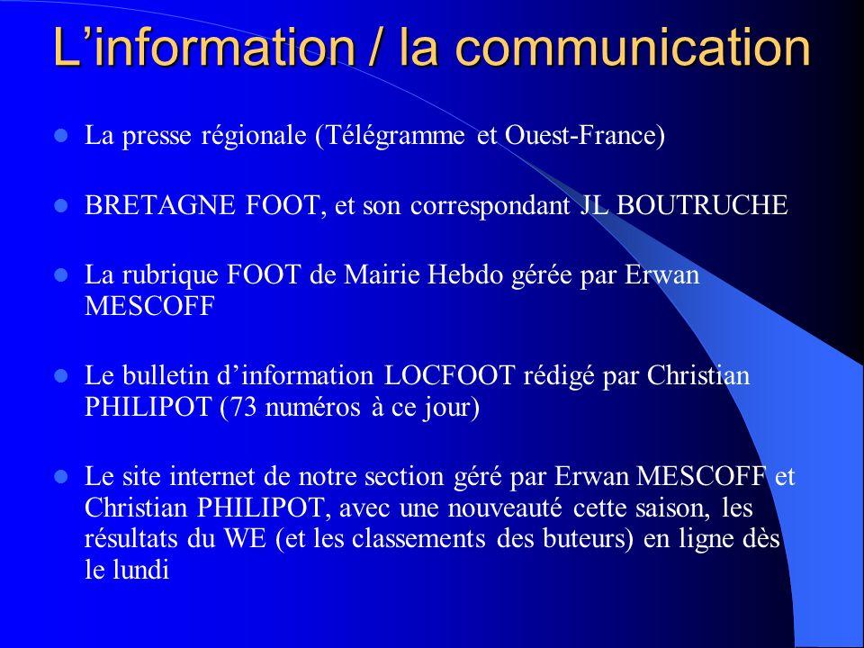 Linformation / la communication La presse régionale (Télégramme et Ouest-France) BRETAGNE FOOT, et son correspondant JL BOUTRUCHE La rubrique FOOT de