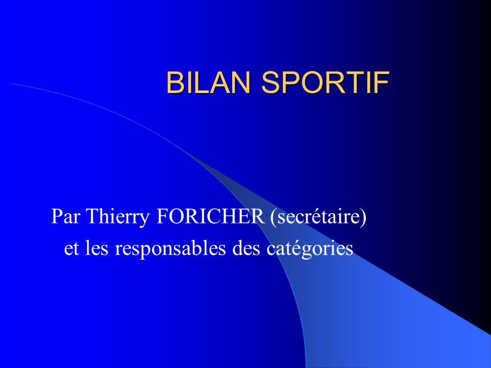 BILAN SPORTIF Par Thierry FORICHER (secrétaire) et les responsables des catégories