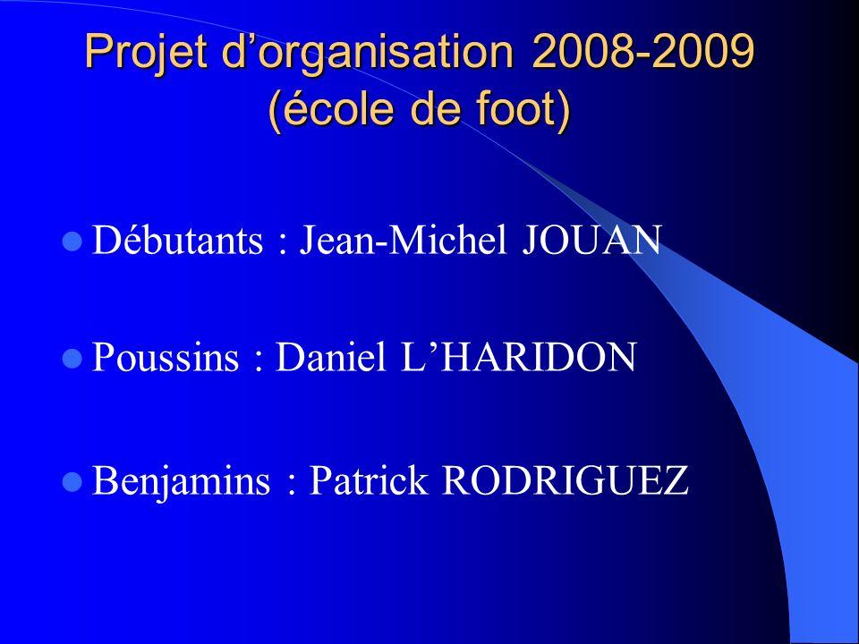 Projet dorganisation 2008-2009 (école de foot) Débutants : Jean-Michel JOUAN Poussins : Daniel LHARIDON Benjamins : Patrick RODRIGUEZ