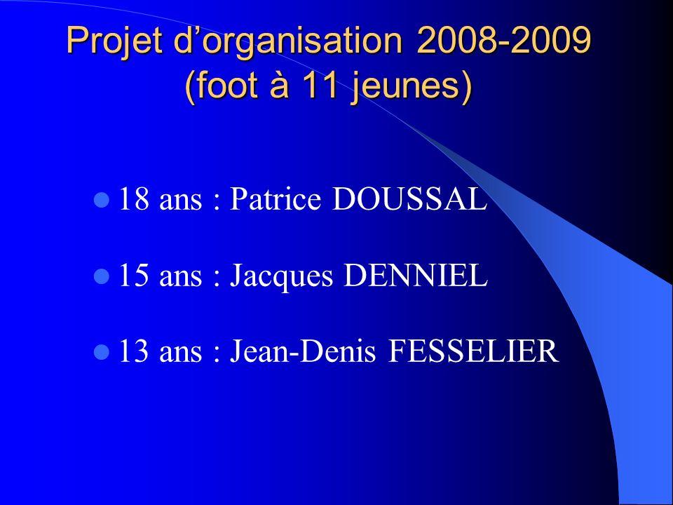 Projet dorganisation 2008-2009 (foot à 11 jeunes) 18 ans : Patrice DOUSSAL 15 ans : Jacques DENNIEL 13 ans : Jean-Denis FESSELIER