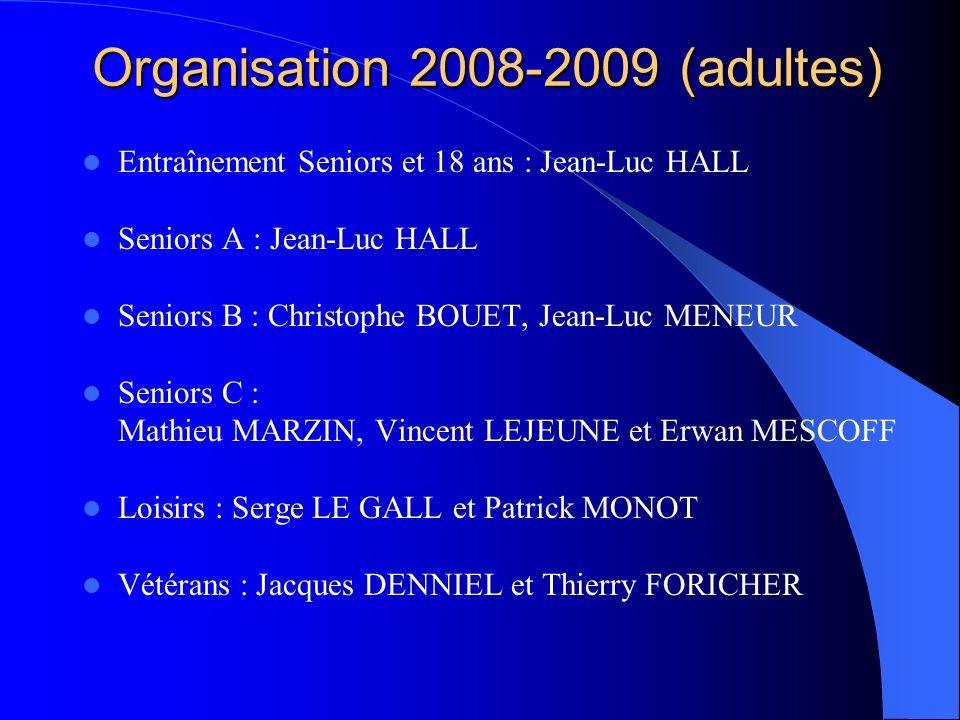 Organisation 2008-2009 (adultes) Entraînement Seniors et 18 ans : Jean-Luc HALL Seniors A : Jean-Luc HALL Seniors B : Christophe BOUET, Jean-Luc MENEU
