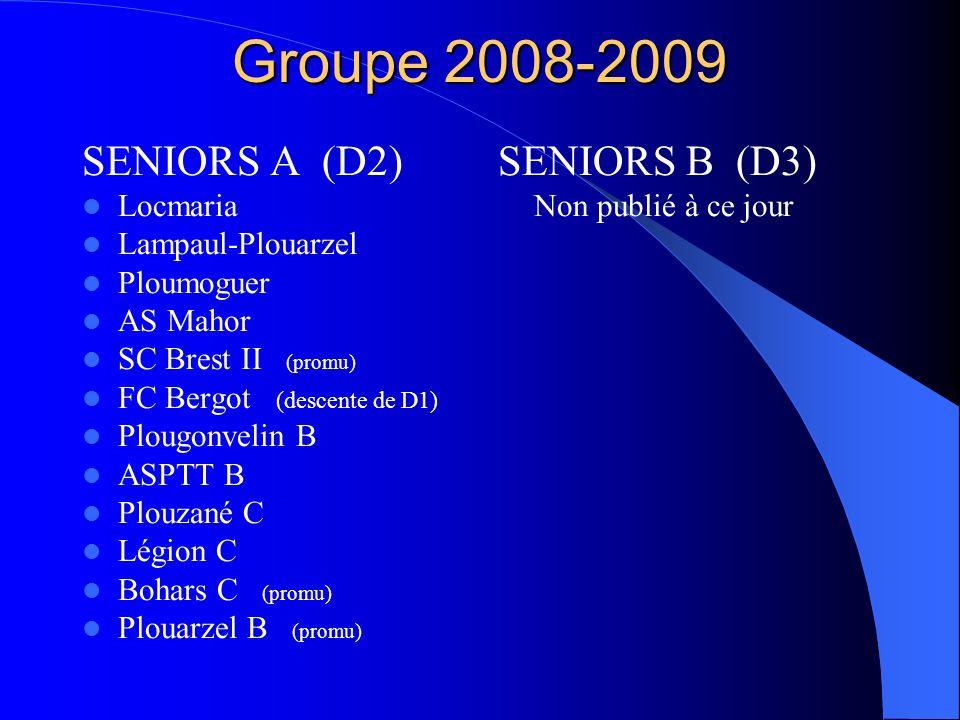 Groupe 2008-2009 SENIORS A (D2) Locmaria Lampaul-Plouarzel Ploumoguer AS Mahor SC Brest II (promu) FC Bergot (descente de D1) Plougonvelin B ASPTT B P